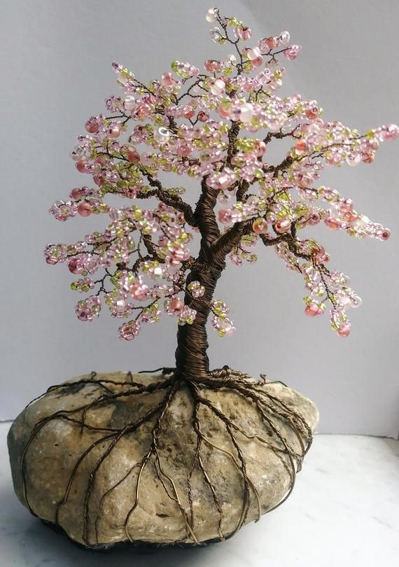 Wire Tree Of Life Sculpture On Rock Cherry Blossom Pink Bonsai Tree Wire Tree Sculpture Tree Sculpture Wire Tree