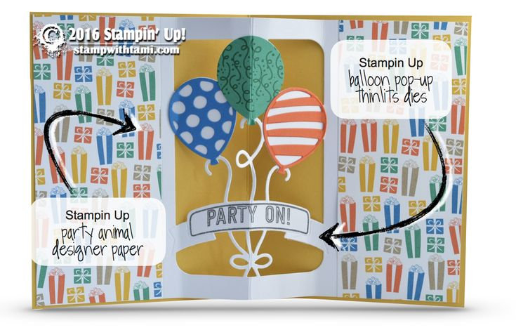 CARD This is a super fun birthday present card from the Balloon Adventures stamp set and coordinating dies! the designer paper is from the new Party Animal Collection. Below is a fun idea for the inside create with the Balloon Pop Up die, and a video tutorial showing h