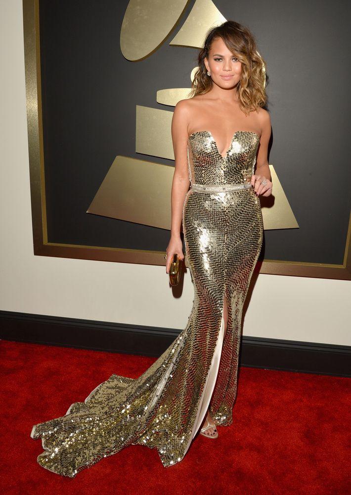 Chrissy Teigen in Johanna Johnson Grammys Red Carpet 2014