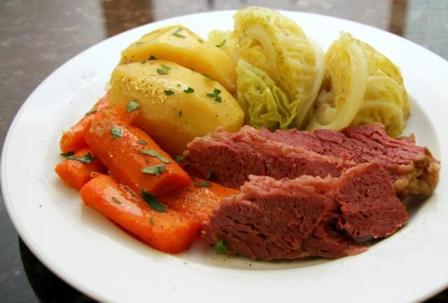 This easy crockpot corned beef dinner includes potatoes, carrots, celery, cabbage, and seasonings. A delicious slow cooker corned beef and cabbage recipe.