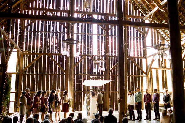 Awe inspiring setting for an outdoorsy ceremony: Barns Ceremony, Lights Stream, Real Wedding, Grass Valley, Barns Wedding, Ryan Ray, Martha Stewart Wedding, Rustic Barns, Squirrels Creek