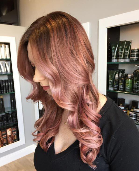40 idées de couleur de cheveux tendance or rose
