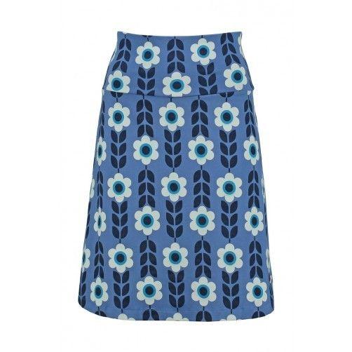 Tante Betsy Skirt Cornflower blue floral print 1970s vintage look rok blauw bloemenprint