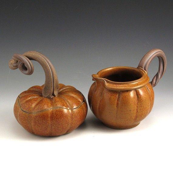 Pumpkin Cream and Sugar Set by baumanstoneware on Etsy, $74.00
