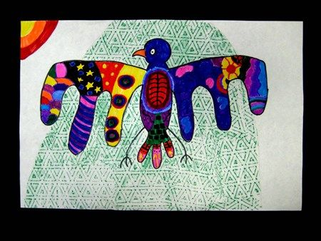 Norval Morrisseau Inspired Thunderbird - Artsonia 3-5th Lesson Plan