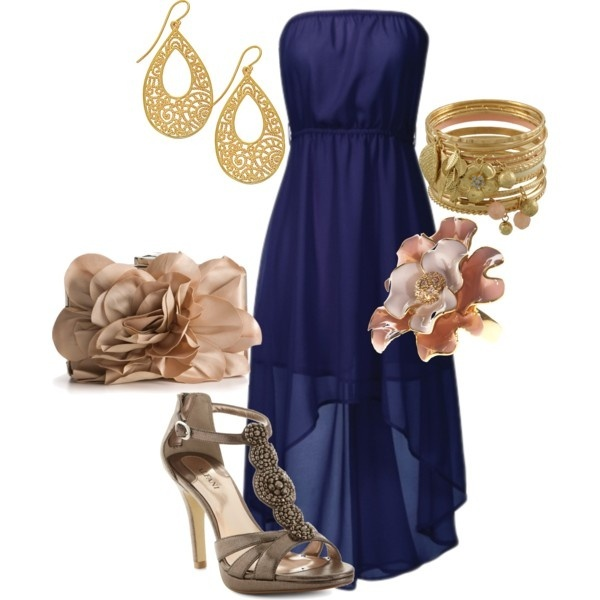 Summer Wedding, created by pieridae on Polyvore: Wedding Guest Outfits, High Low Dresses, Summer Looks, Late Summer Wedding, Summer Outfits, Summer Chic, The Dresses, Summer Night, Deep Blue