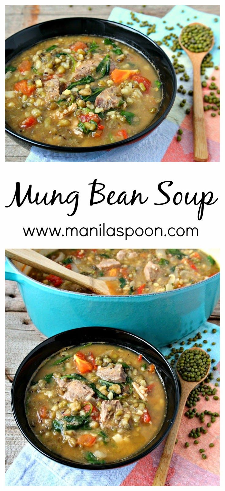 With beans, spinach, tomatoes and meat this hearty and healthy soup is filling and delicious! #spinach #mung #bean #soup