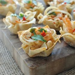 Shrimp Pad Thai Cups! For those game day eaters who don't like game day food.