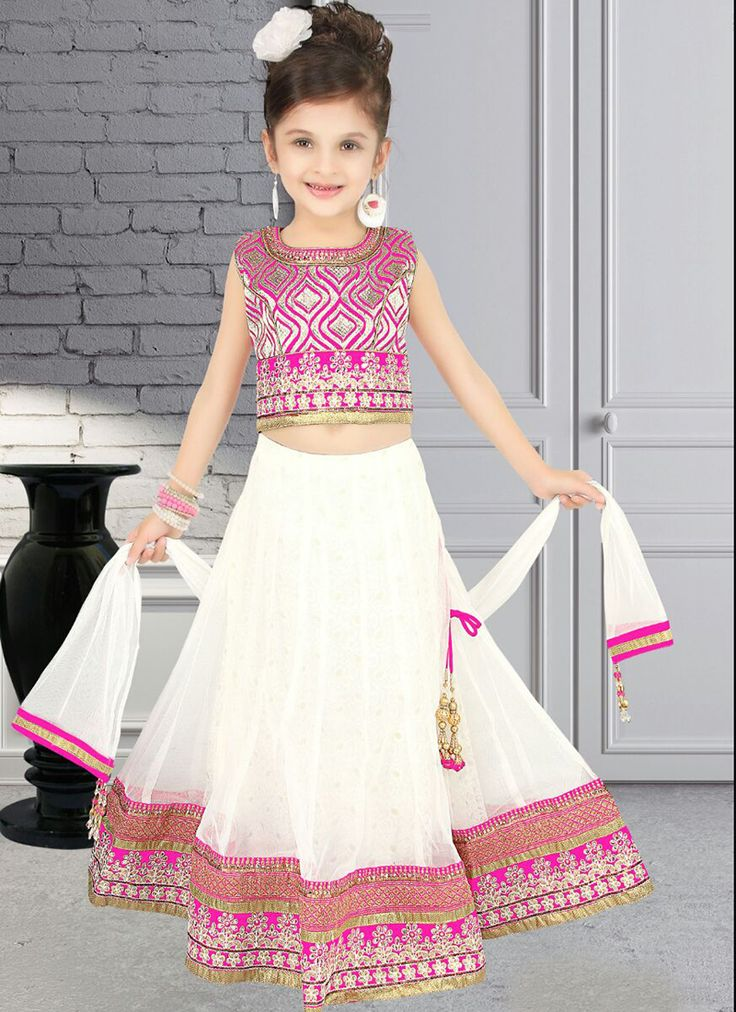 Excellent White Net Designer Kids Wear Lehenga Choli