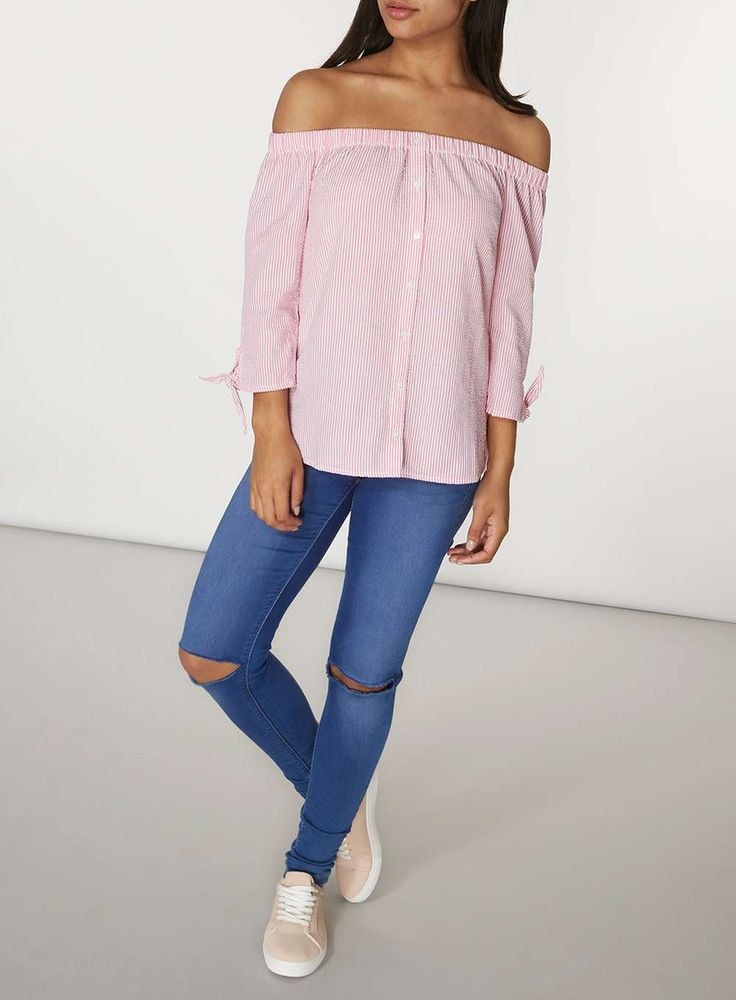 Womens Pink Stripe Bardot Top- Pink