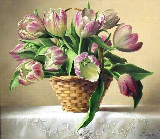 Схема вышивки «тюльпаны в