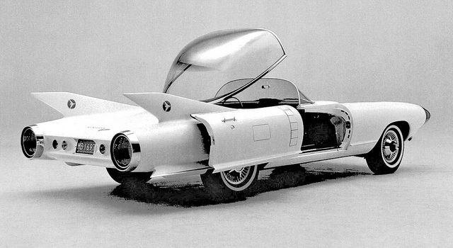 1959 Cadillac Cyclone The bold Cyclone roadster was Harley Earl's last dream car. Its rocket tube-shaped body, aircraft cockpit canopy, sliding doors and