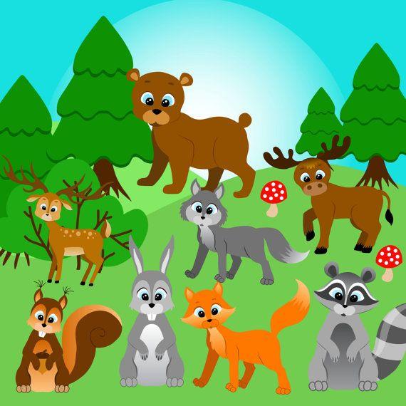 Erdei állatok előfizetői, Forest clip art, Woodland Clipart, Woodland Animal Clipart, Fa állatok előfizetői, előfizetői Fox, Wolf előfizetői