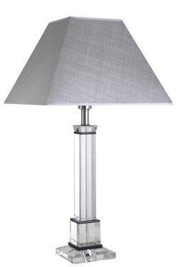 Grande lampe en verre optique Lampe avec un abat-jour gris argent en forme de pyramide carrée et métal chromé - Le Dauphin - Lampe de table #lightings #luminaire #madeinfrance #ledauphin #vraimentbeau #paris