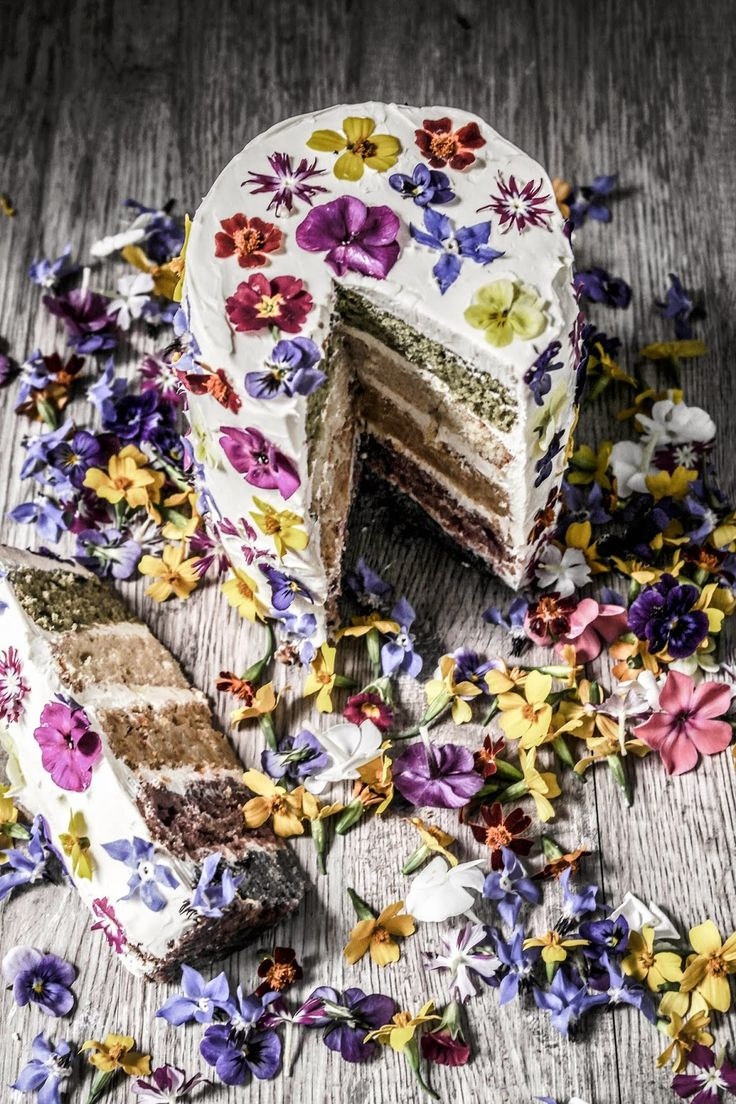 Twigg studios: natural coloured rainbow cake with edible flowers | I bet this looks even more glorious in real life!