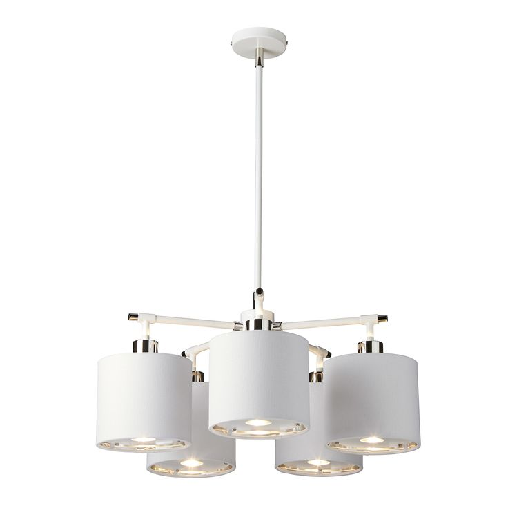 White/Polished Nickel Balance fittings feature fabric shades with a silver metallic lining and acrylic diffuser for bright, even lighting. They are also well suited for LED replacement bulbs.
