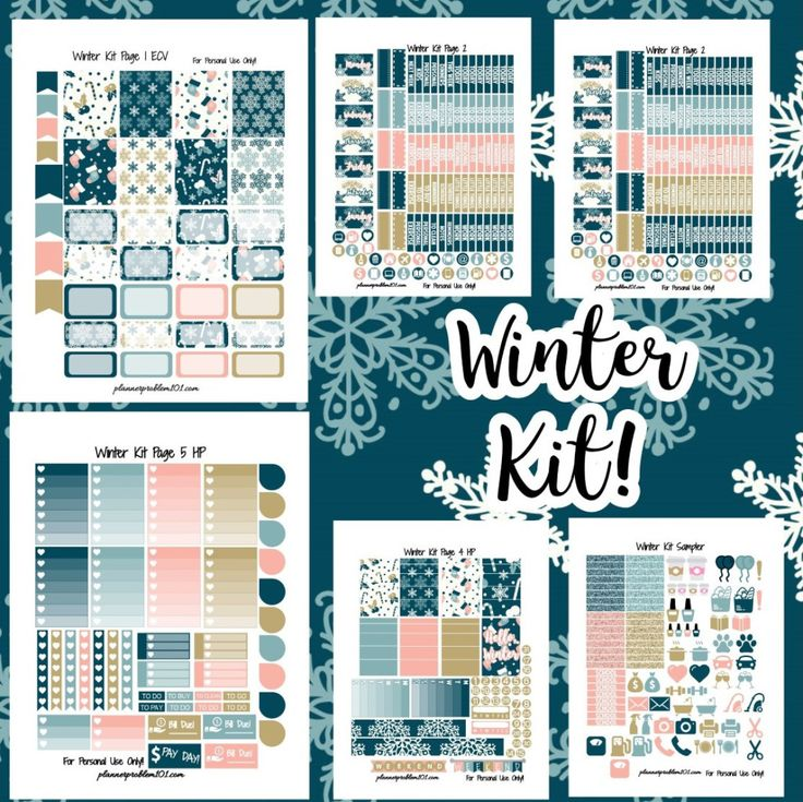 Winter Kit! | Free Printable Planner Stickers – PlannerProblem