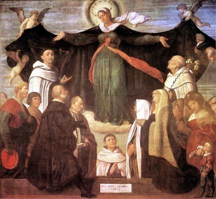 Our Lady of Mount Carmel. Moretto da Brescia c.1522.The feast of Our Lady of Mount Carmel was first instituted in the late 14th century but was not entered onto the Calendar until the 18th century. Mount Carmel overlooks the Mediterranean Sea on which the prophet Elijah successfully challenged the priests of Baal and won the people to the true God.