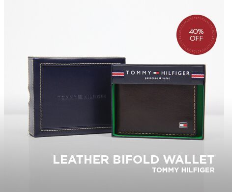 TOMMY HILFIGER MENS PASSCASE BIFOLD LEATHER WALLET BROWN