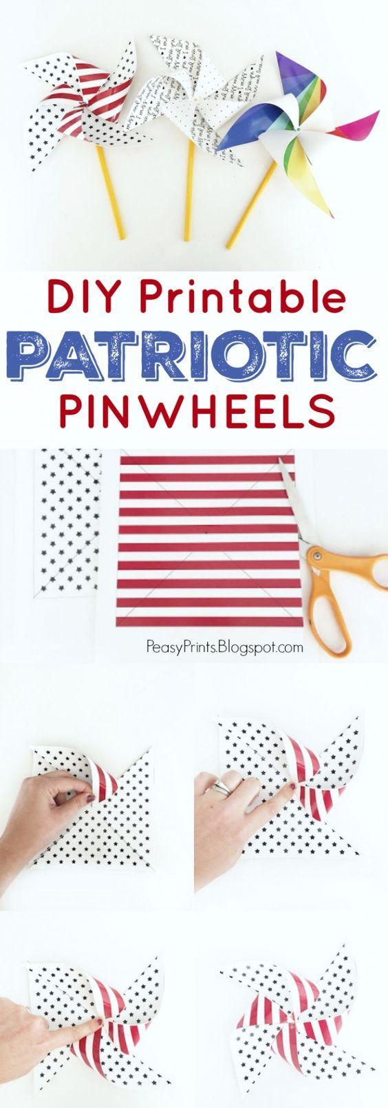 DIY Printable Patriotic Pinwheels, cute 4th of July craft! Great patriotic craft idea!