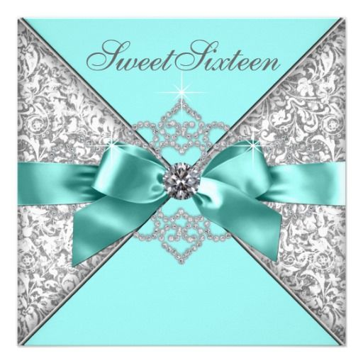 White Diamonds Teal Blue Sweet 16 Birthday Party Invites | Visit the Zazzle Site for More: http://www.zazzle.com/?rf=238228028496470081