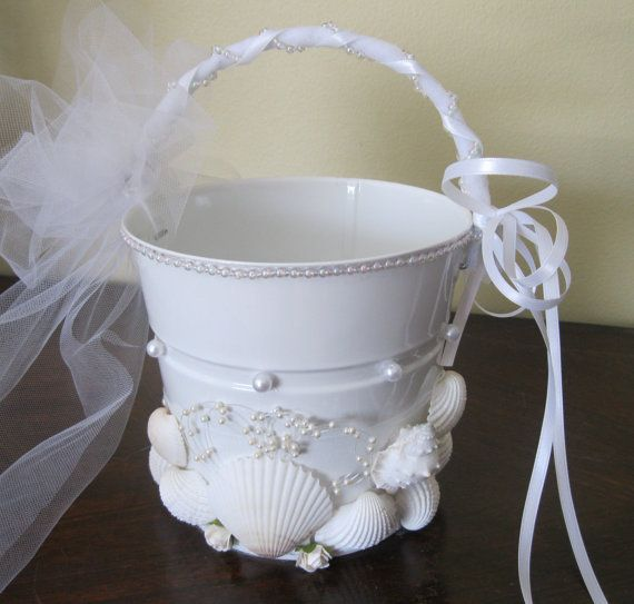 Beach Wedding Flower Girl Pail by artseero on Etsy, $40.00