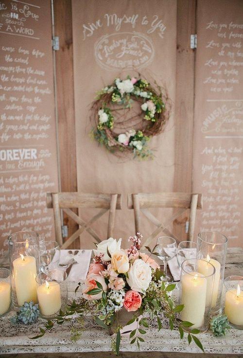 Rustic Wedding Sweetheart table. #reception #tabledesign