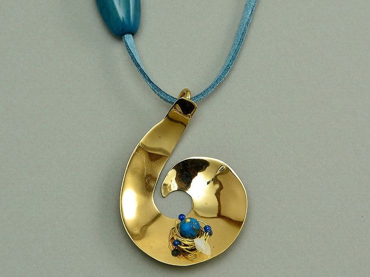 Tumbaga necklace with blue adjustable cord and turquoise by NataliaNorenasilver on Etsy