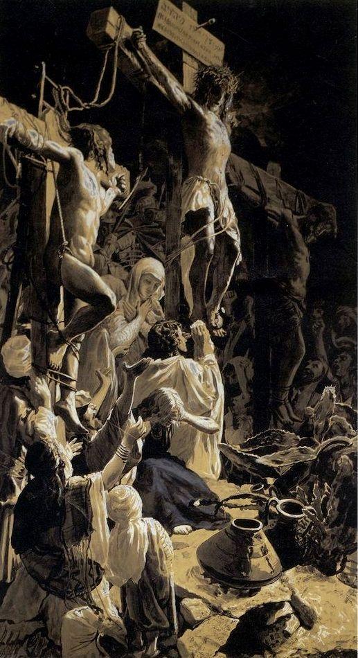 "Wojciech Piechowski oil painting ""Crucifixion"" of 1889"