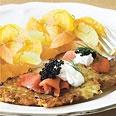 Potato Latkes with Smoked Salmon, Caviar, and Tarragon Crème Fraîche Recipe at Epicurious.com