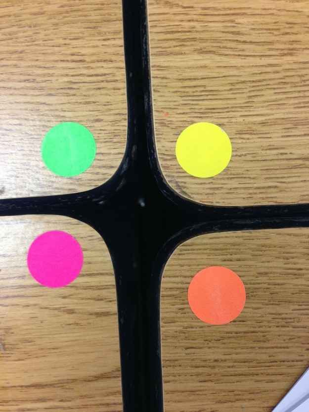 Use colored dots to make groups easy. Put a different colored dot on each desk in a group. When you need to have a student from each table do something, you can simply ask for all the green dots to bring you the papers from their group.