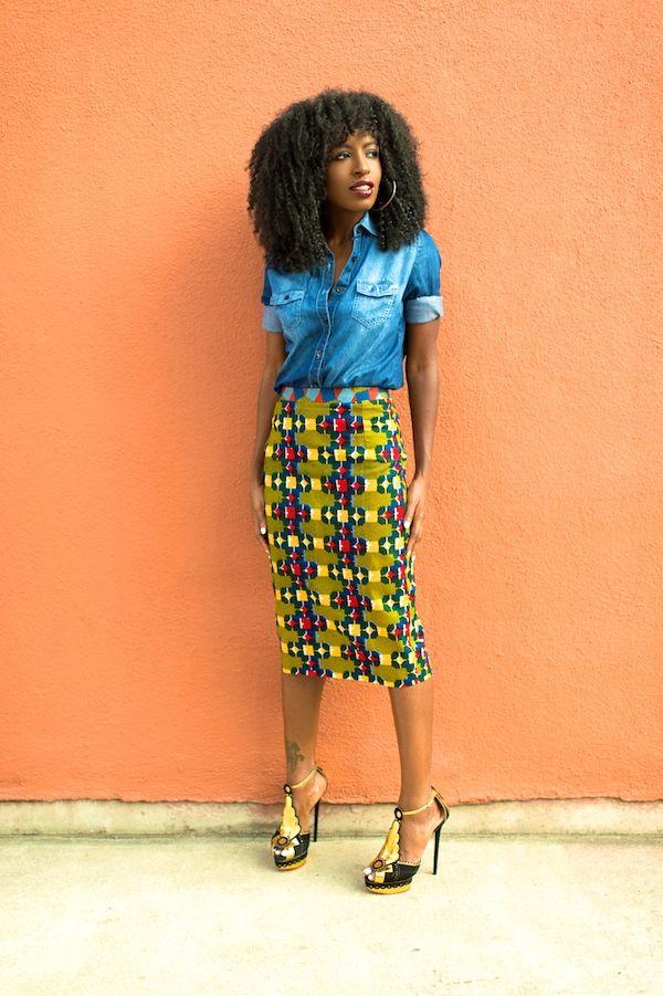 Denim Shirt x Stella Jean African print Pencil Skirt