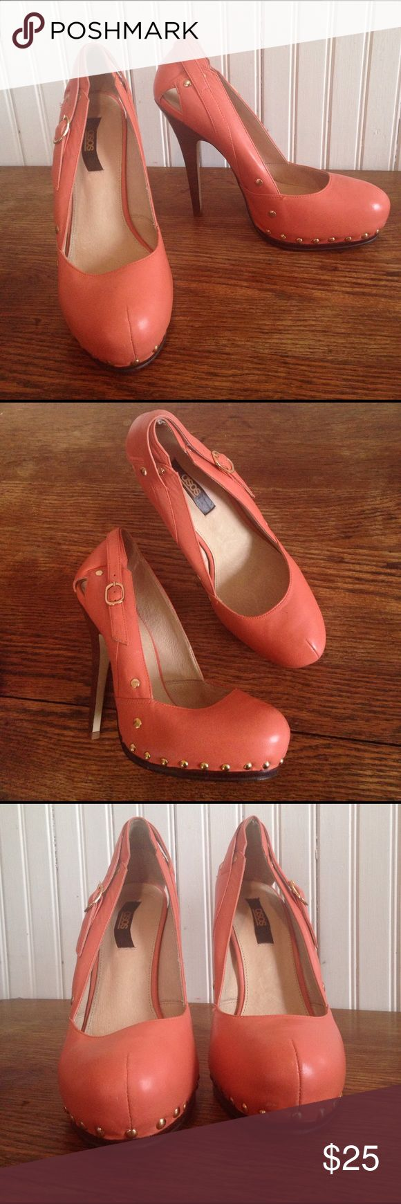"""Asos coral heels size 8 Asos coral heels size 8, gold tone hardware , 5"""" heels , 2  scuff marks as seen in the pictures otherwise excellent condition ASOS Shoes"""