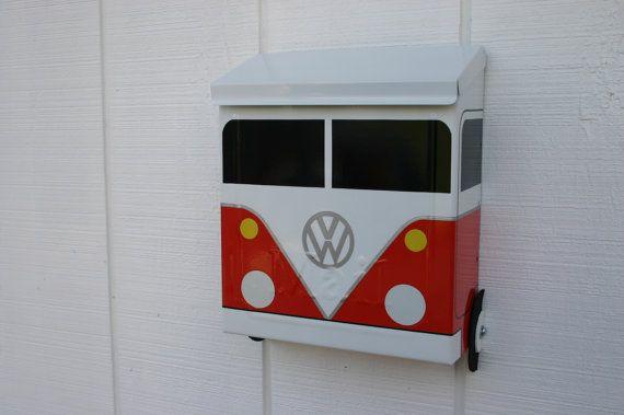 Fire Orange Locking Volkswagen Bus Porch Mailbox by TheBusBox Custom made - Choose your color - PorchBusBox LockBox PaymentBox DropBox VW