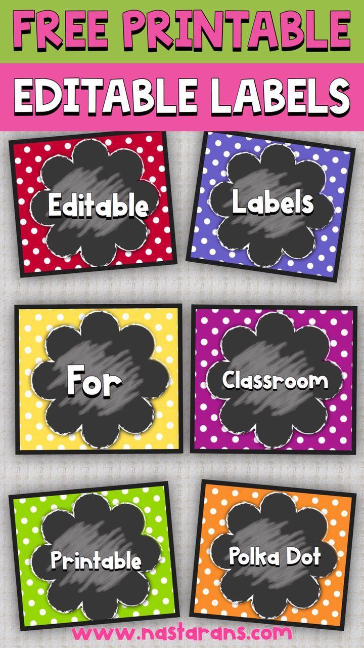 Free Editable Chalkboard And Polka Dot Labels Contains 6 Printable Labels In Polka Dot Theme Editable Labels Free Editable Gift Tags Free Chalkboard Printables
