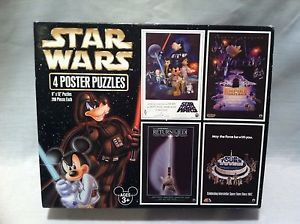 Star Wars Mickey Mouse as Luke Skywalker Goofy as Darth Fader 4 Poster Puzzles   eBay