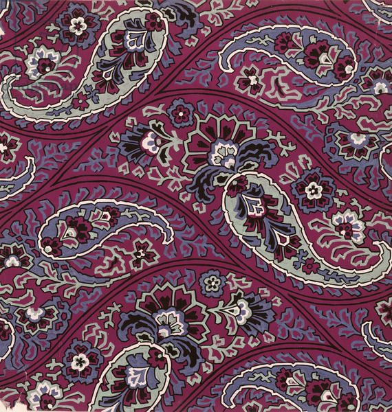 Paisley textile design, French, 1920s (gouache on paper)