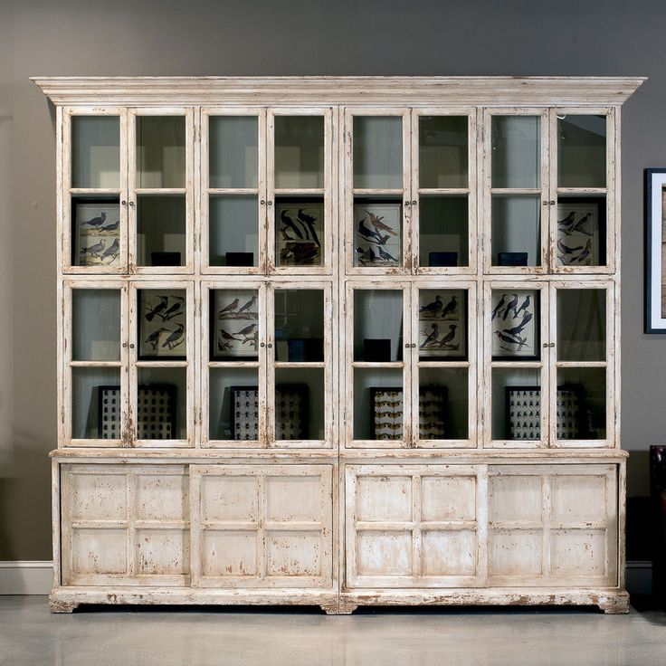 Bookcase Cabinet Glass Doors Antique White French Country