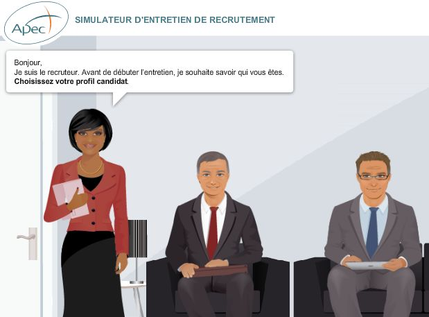 Simulateur d'entretien gratuit mis en en ligne par l'APEC