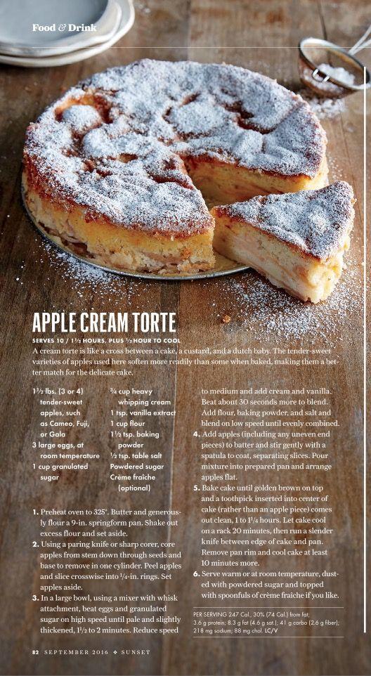 Apple Cream Torte recipe in Sunset magazine