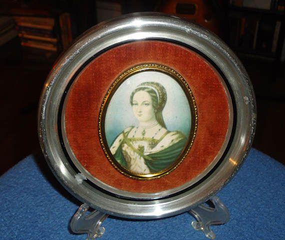 Vintage Lady Jane Grey print in original frame  circa