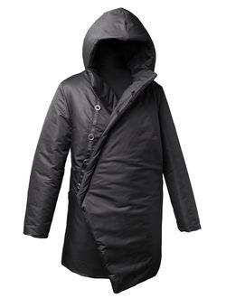Пальто зимнее на пуговицах черное С15010