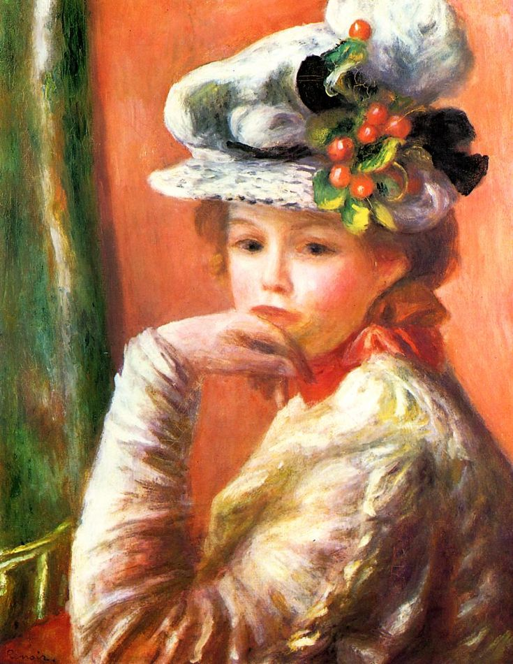 Young Girl in a White Hat (also known as Woman Leaning on Her Hand) - Pierre Auguste Renoir - circa 1892