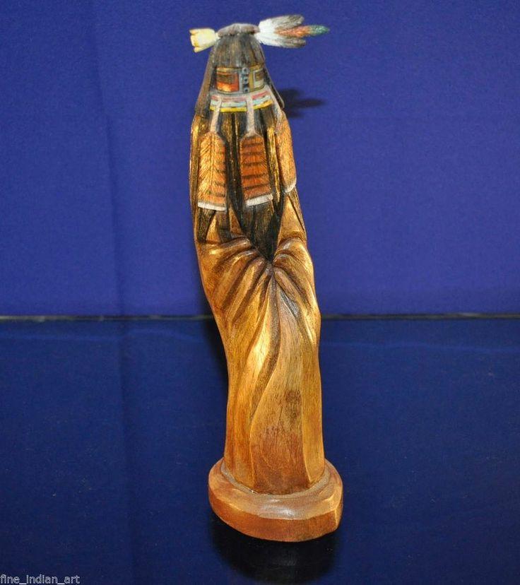 Hopi kachina long hair sculpture fine detail hand