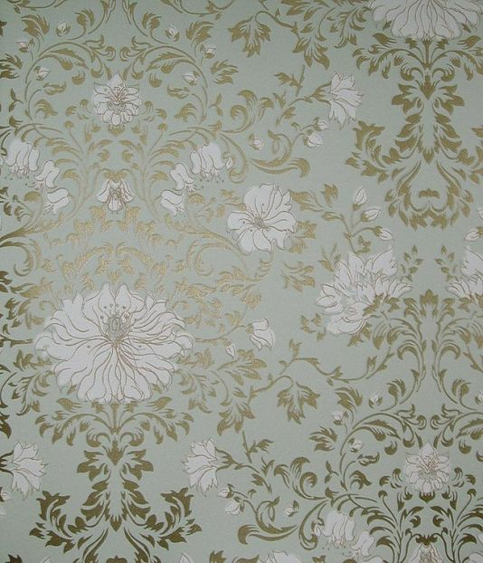 Wild Flowers Wallpaper. Leaf scroll design in gold on pale aqua with white flowers.