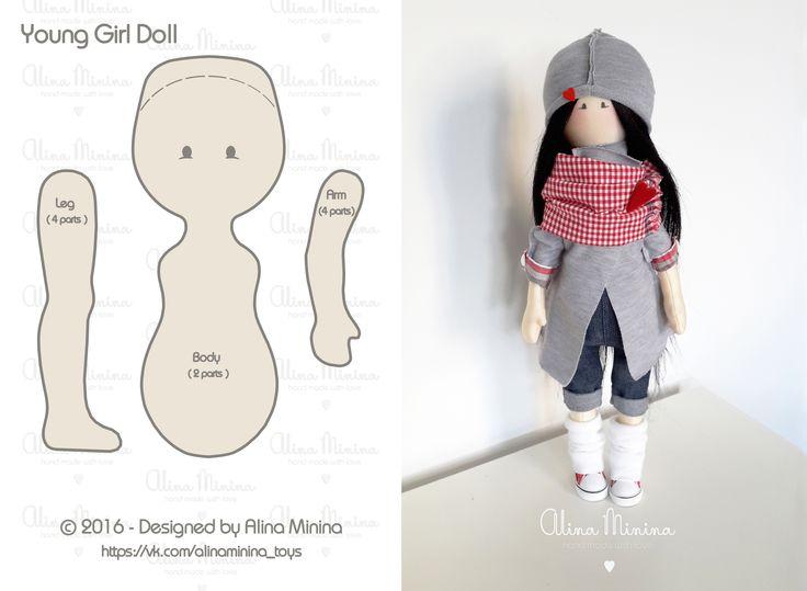 Кукла - подросток, авторская кукла ручной работы Алины Мининой, девушка брюнетка, в кедах, в джинсовом комбинизоне, в кардигане, интерьерная кукла, тильда, выкройка куклы, выкройка игрушки