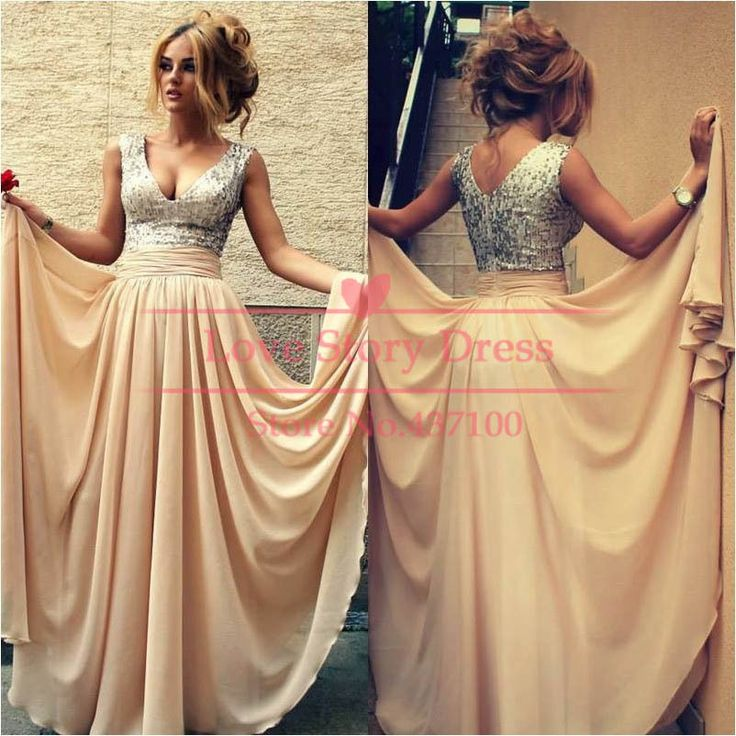 Charming V neck Sequins Crystals A line Nude Chiffon Party Dresses Celebrity Prom Dresses 2014 New Fashion Robe De Soiree  $154.90