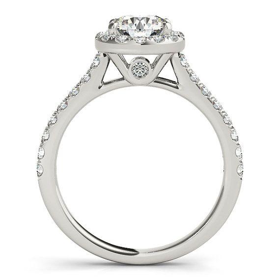 Halo-Runde Halo Diamant-Verlobungsring von OliveAvenueJewelry