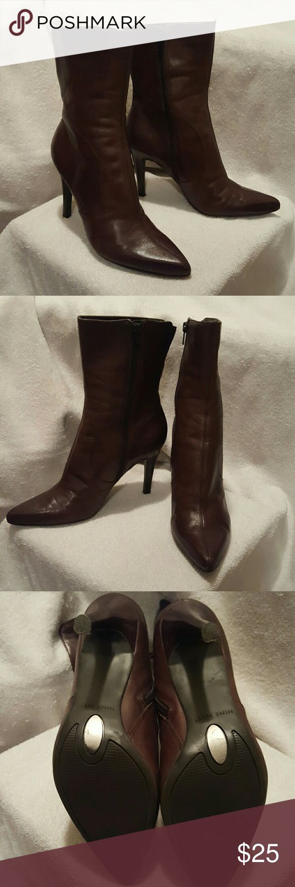 Nine West Women's Brown Leather Boots size 7 Womens Brown Short Brown Leather Pointed Dress Boots Nine West Shoes Winter & Rain Boots
