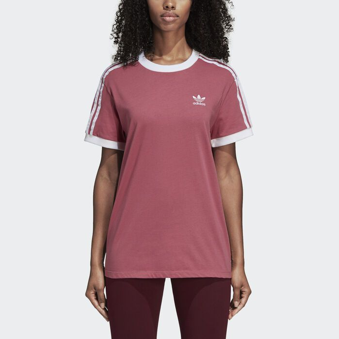 6f29f46f 3-Stripes Tee Maroon Red Womens | Products in 2019 | Pink adidas ...